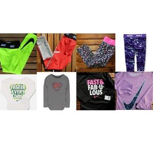 8pc Nike Girls 6X Dri-fit Legging, Long Sleeve Top